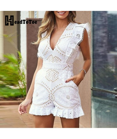 Hollow Out Lace Ruched Hem Casual Rompers with Pockets Women One Piece Overalls Summer Playsuits Short Sleeve V-neck Jumpsui...