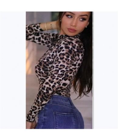 Autumn Women's Sexy Long Sleeve Sexy Casual Stretch Leotard Print Bodysuit One-Piece Jumpsuit Romper Top - Leopard Print - 5...