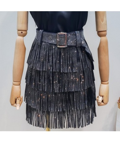 2019 Summer New Fashion Clothes For Women Hot Drilling Tassels Paillette Skirt With Belt Hot Sale All-match Bottoms YG97 - b...