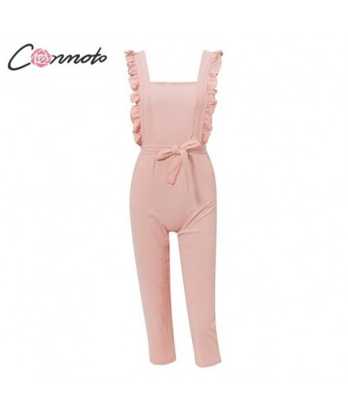 Casual Solid Pink Jumpsuit Rompers Women Backless Bow Tie Jumpsuits Ruffle Summer Female Long Rompers Plus Size - Pink - 4Q4...