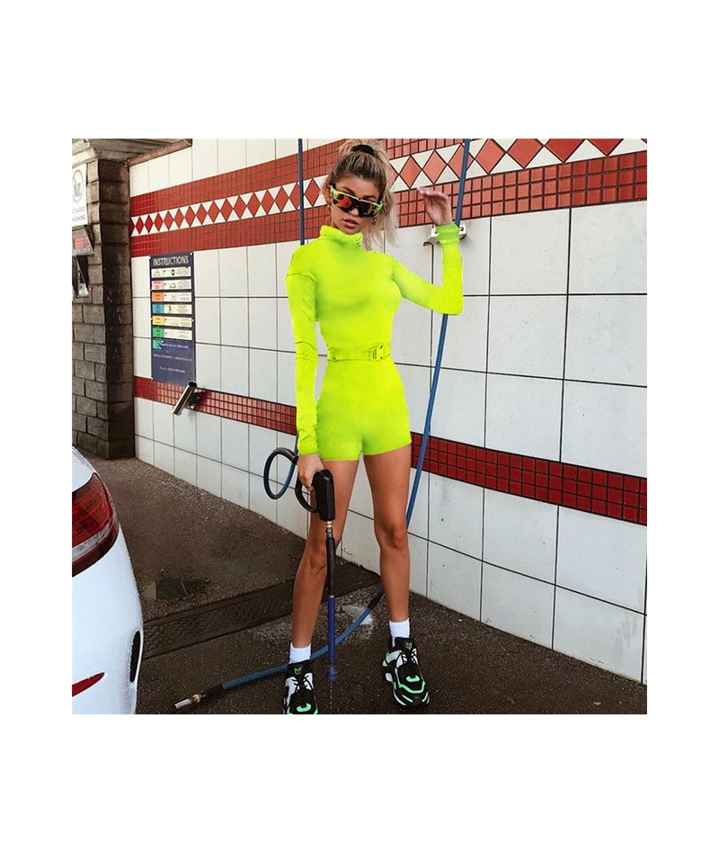 Fashion Newly Women Zip up V-neck Long Sleeve Playsuit Ladies Pure Color Chic High Collar Sexy Tracksuit Club Playsuits Cost...