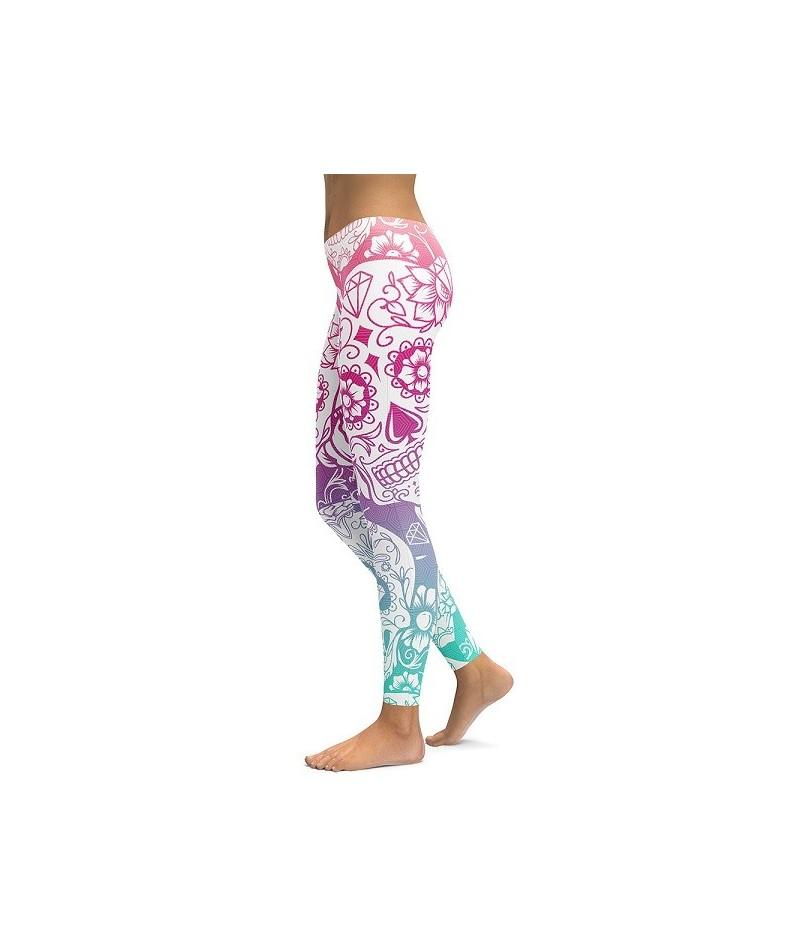 2019 3D Printed Sugar Skull Leggings Women Plus Size Leggings Workout Casual High Waist Slim Pants S~4XL Plus Size Leggings ...