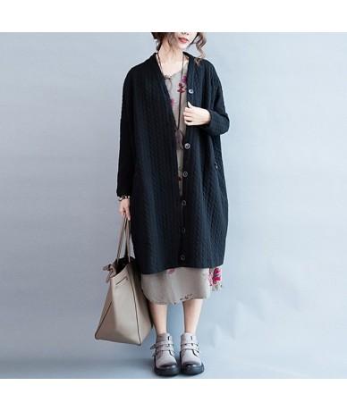2019 Autumn Winter New Women Cotton Wool Jacket Long Black Color Open Stitch Cardigan - Black - 4H3049423981