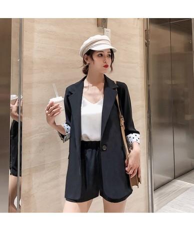 Summer Women Short Suits Dots Patchwork Sleeve Blazer Jacket & Elastic Waist Shorts Female 2 Pieces Set Pant suits Casual 20...