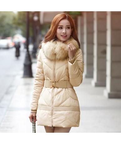 Winter Jacket Women Big Fur Hooded Parka Thick Cotton Coat Women Outerwear Jaqueta Feminina Inverno Chaqueta Mujer - Beige -...