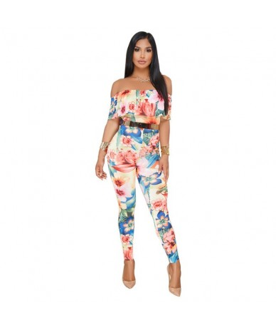Off Shoulder Sexy Floral Print Jumpsuits Two Piece Backless Club Rompers Womens Jumpsuit Strapless Full Bodysuit Summer Over...