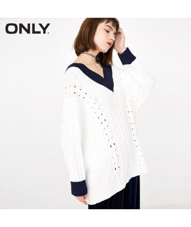 2019 spring new large V-neck strap design hollow-out loose sweater 118113521 - NEW CREME - 443084095453