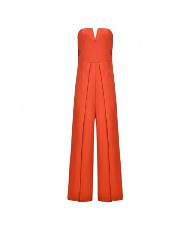 2019 NEW Sexy Orange Off Shoulder Jumpsuit Female Casual High Waist Wide Leg Jumpsuit Female Hollow Out Plus Long Rompers - ...