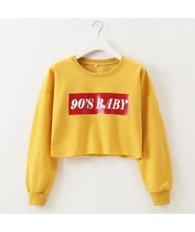 Hoodies Sweatshirt Women 2019 90s Baby Harajuku Long Sleeve Black Pullovers Autumn Casual Crop Tops Moletom Feminino - yello...