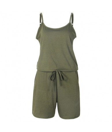 Beach Summer Playsuits Sleeveless Solid Women Jumpsuits Short Solid Casual Rompers Spaghetti Strap Sexy Overalls Pockets GV1...