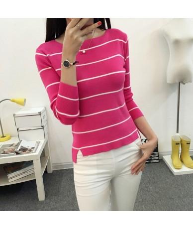 2019 Striped collar sweater sweater autumn thin coat dress lady shirt autumn jacket female - P - 4Z3914587545-2