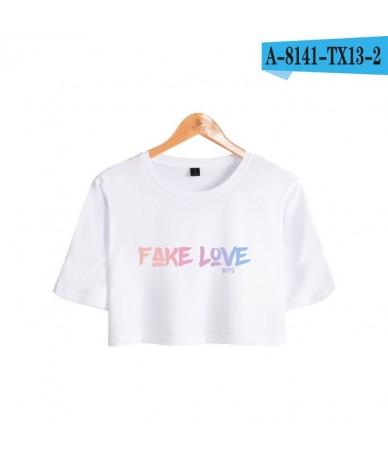 New Sexy Crop Top Bangtan Boys Love Yourself Women Tee shirts Summer Short T Shirt Cool Women Fashion Cropped Female - WHITE...