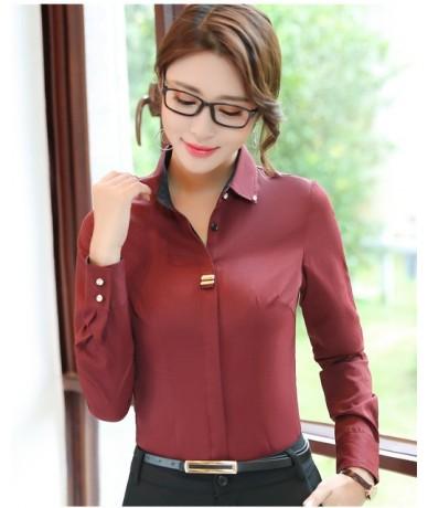 Fashion clothes OL women long sleeve shirt black white slim Patchwork Sequined cotton blouse office ladies plus size formal ...