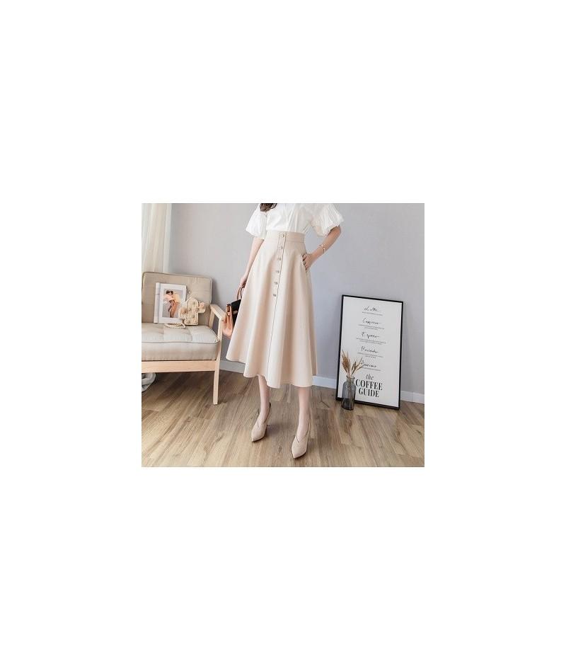 2019 Spring A-Line Long Pleated Skirt Women High Waisted Pocket Front Buttons Skirts Womens Elegant Korean Big Swing Faldas ...