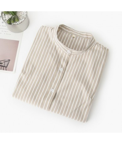 Women Blouses 2019 Autumn New Simple Casual Blue Red Striped Long Sleeve Shirt Female Stand Collar Plus Size Blouse Tops Blu...