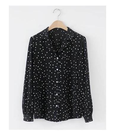 Plus Size Loose Preppy Style Shirts Blouse Women Cute Sweet Tops Polka Dot Top Korean Style Design Black Button Shirt Blouse...