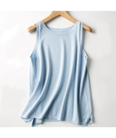 2019 New Wear Women's Knitted Camisole Fashion Solid Color Tank Tops V-neck Women Tanks Knitted Feminina Summer Fashion - Sk...