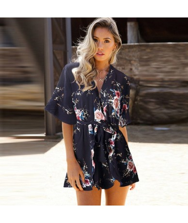 Hot Fashion Playsuits Women Summer Jumpsuit Bodysuit Rompers Playsuit Clothes Macacao Feminino Overalls Casual Female Tops B...