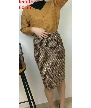 2019 Winter Women Sequined Patchwork Shinny Pencil Mini Skirts High Waist Black Party Sexy Bandage Girls Long Saia S1802 - g...