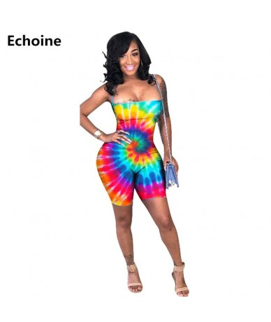 New Summer Women Sexy Playsuit Colorful Print Tie Dye Playsuit Bodysuit Slim Skinny Lace Up Backless Clubwear Outfit Jumpsui...