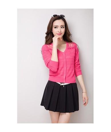 Ultra-thin summer sunscreen shirt women cardigan sweater cape shrug cutout lace cardigans all-match outerwear - rose red - 4...
