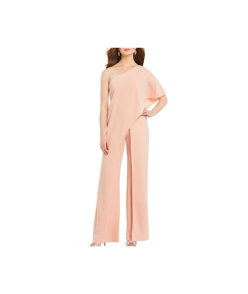 2019 Elegant Women Fashion One Shoulder Slash Neck High Waist Casual Lady Wide Leg Asymmetric Split Jump suits Pants T2 - Pi...