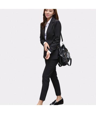 2019 Business Women Pencil Pant Suits 2 Piece Sets Black Solid Blazer + Pant Office Lady Notched Jacket Female suit - black ...