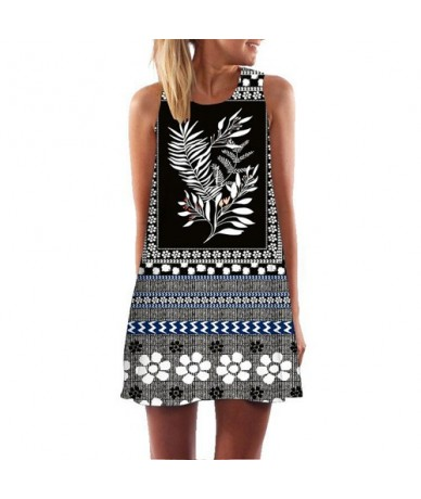 Floral Print Black Vintage Dress Summer 2019 Fashion Sleeveless Casual Chiffon Dress Women Loose Beach Dress Sukienki - 328 ...