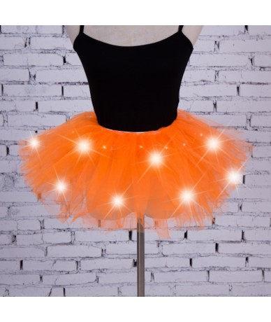 Newest LED Light Up Tulle Tutu Skirts Fancy Hen Party Halloween Costume Players - Orange - 4W3956102843-4
