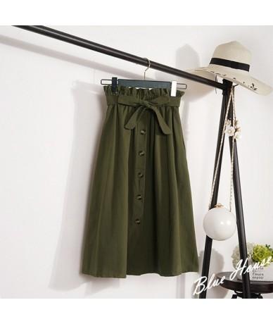 Summer Autumn Skirts Womens 2019 Midi Knee Length Korean Elegant Button High Waist Skirt Female Pleated School Skirt - Green...