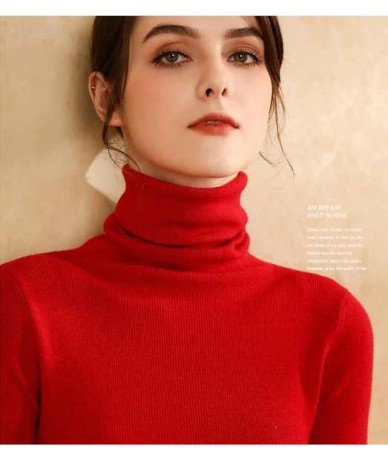 High Quality Autumn Winter Warm Women Sweater Thick Turtleneck Pullover Sweater Fashion Rib Knitted Female Jumper Top - red ...