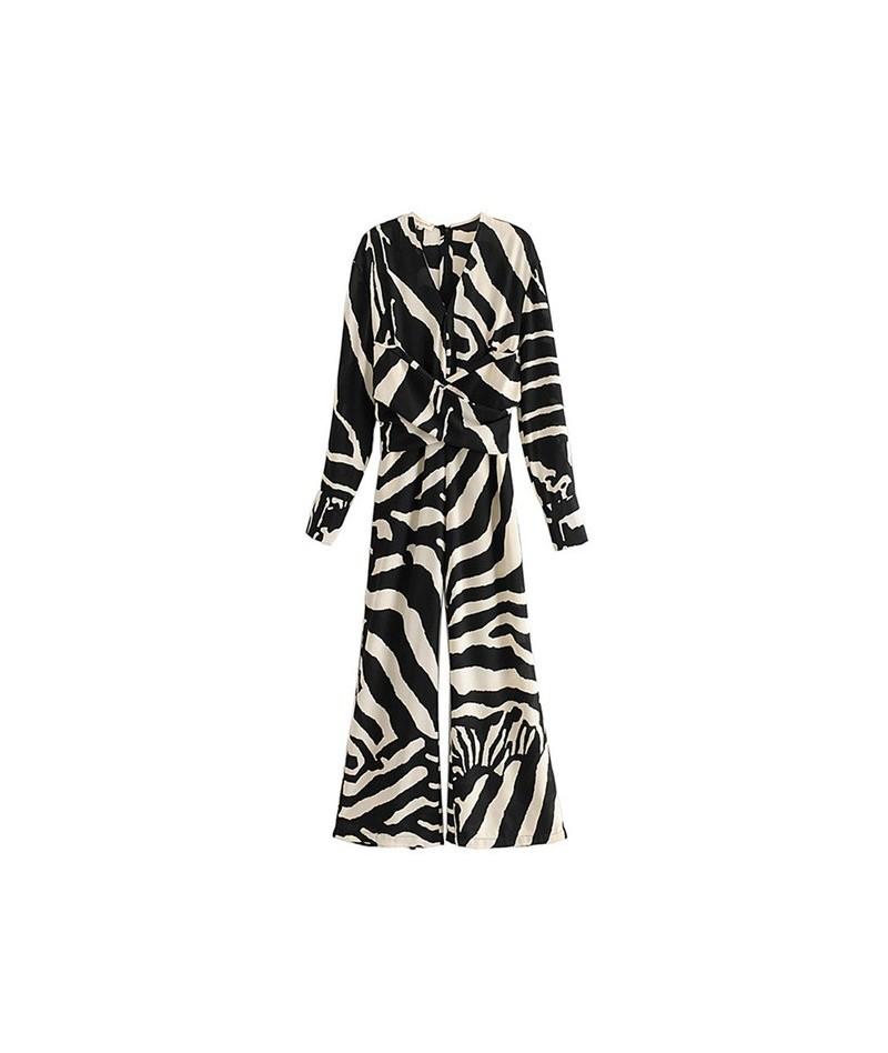 Vintage Zebra Print Sashes Jumpsuit Women 2019 V Neck Back Zipper Pockets Ladies Rompers Casual Bodysuit - as picture - 4D41...