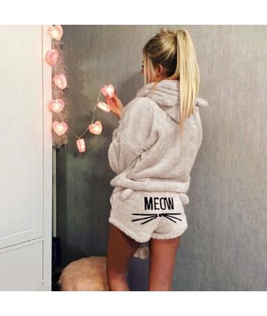 Women Coral Velvet Suit Two Piece Autumn Winter Pajamas Warm Sleepwear Cute Cat Meow Pattern Hoodies Shorts Set 2018 New - B...