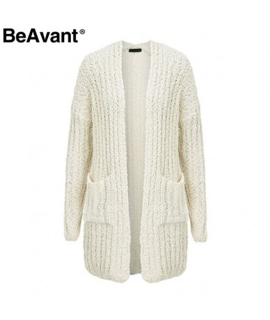 Casual chenille pockets knitted cardigan women Soft oversized long cardigan sweaters 2018 Tricot winter pink sweater - Cream...