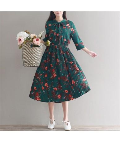 2018 new Chiffon Dress Women Casual Vintage Green Flower Print Three Quarter Sleeve Retro Spring Summer High Waist Dresses -...