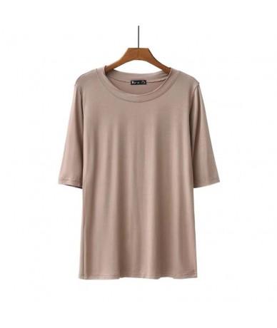 High Elasticity Women T-shirt Base T-shirts Bottoming Basic Tee Tops 2019 New Cotton Round Neck Half Sleeve Femme T Shirts -...