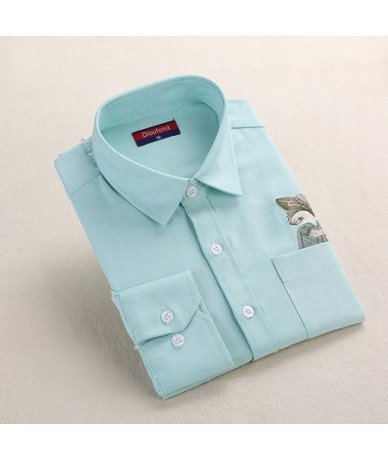 Print Cat Embroidery on Pocket Shirts Lady 2019 Spring New Fashion White Navy Casual Blouse Shirts Long Sleeve Blouse - Gree...