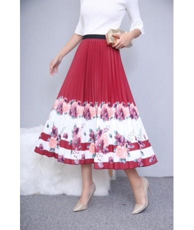 Rainbow Printed High Waist Pleated Skirt Women Long Rainbow Skirt Women Summer Fashion Casual Skirt Woman Faldas Saia - 20 -...