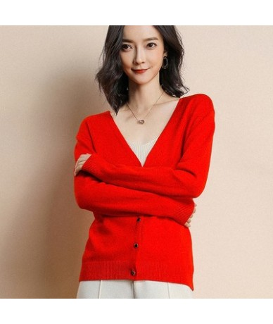 Women's Cardigan Sweater Long Sleeve Knit Cashmere Cardigan Jacket V-neck Solid Color Slim Fit Jacket Casual Top - Red - 423...