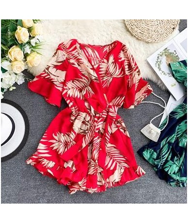 Women's V neck flare sleeve flower print Playsuits Lady's Vintage Summer Wide leg shorts beach vacation Jumpsuits TB1036 - r...