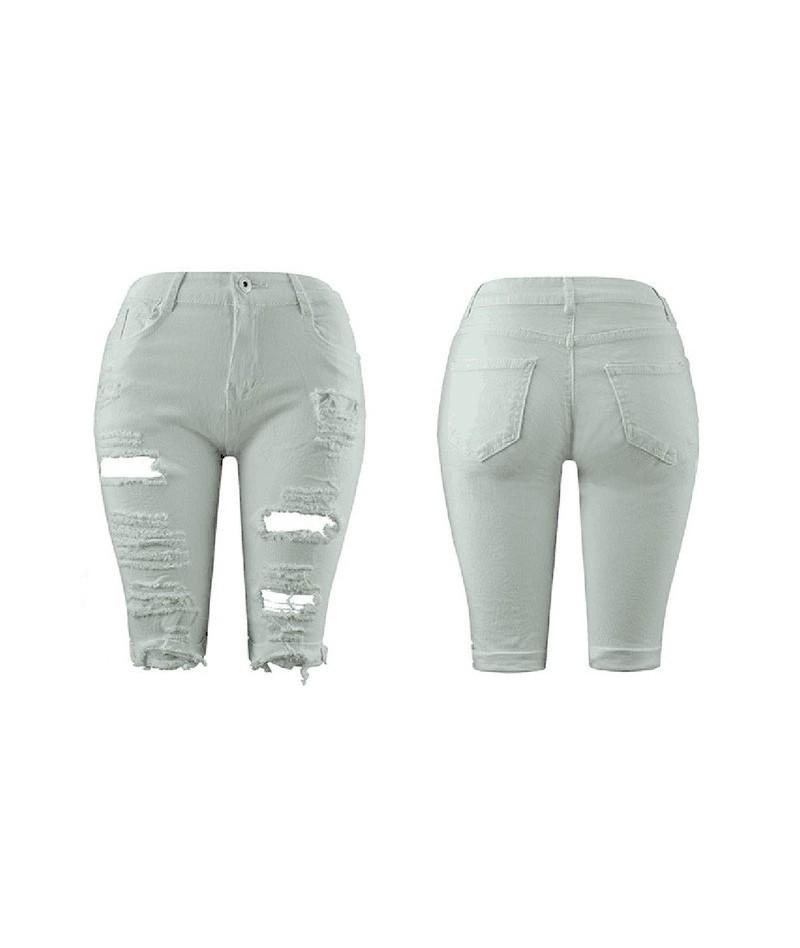 Women Elastic Destroyed Hole Leggings Short Pants Denim Shorts Ripped Jeans - White - 4Y4119180159-3