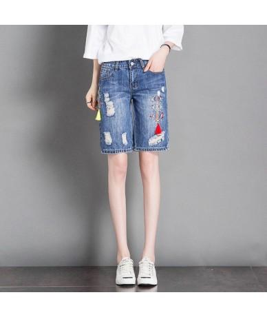Plus Size Thin Embroidered Shorts Jeans Woman Holes Ripped Jeans Women Beach Summer Shorts Capris Denim Short Pants Women C4...