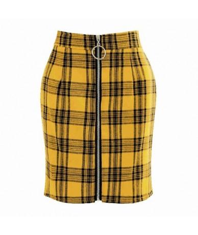 Woman Office Lady Intellectual Sexy Metal Ring Zipper Bag Hip Tight Skirt Women Girls Pencil Empire Plaid Skirts Drop Ship -...