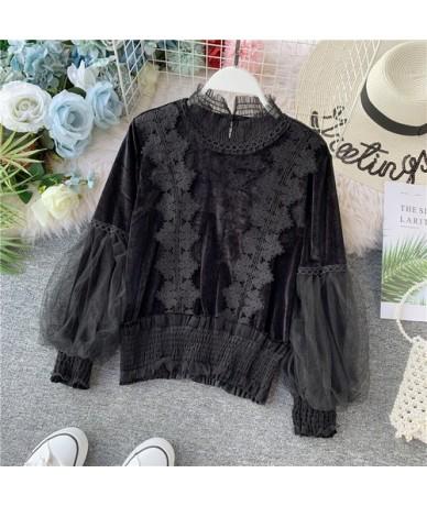 2019 Autumn Lace Velvet blouse shirt Lantern Sleeve elegant winter pullover mesh shirts tops - Black - 4D4171066226-2