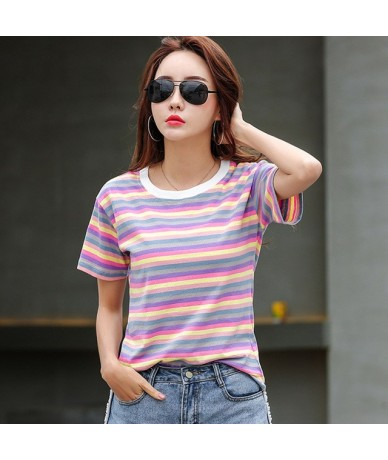 New T Shirt Women Rainbow Striped Tops Harajuku Tshirt 2019 Summer Short Sleeve Korean Punk T-shirt camiseta feminina S-2XL ...