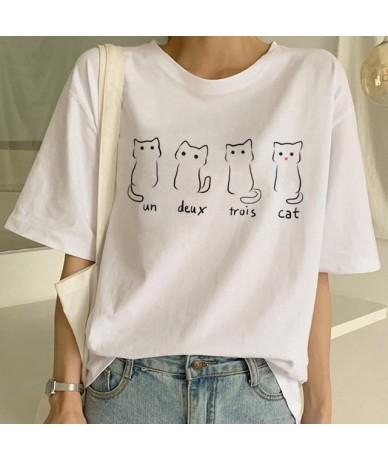 New Cute Cat T Shirt Women Casual Funny Cartoon Print Tshirt Harajuku Kawaii Fashion T-shirt Summer Short Sleeve Top Tees Fe...