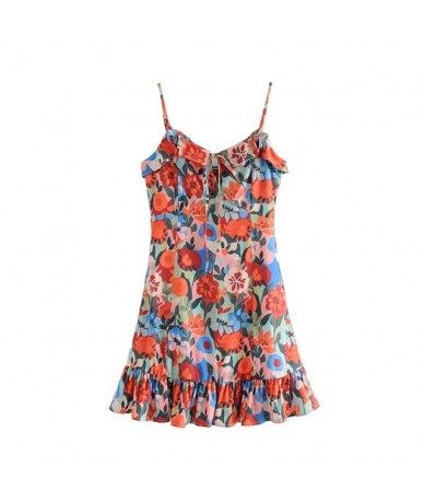 women floral print mini dress ruffled bow tie design adjustable straps female casual dresses A line vestidos QC177 - as pict...