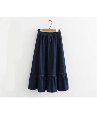 Large Size 7XL 2019 Women Denims Long Skirts Elastic Waist Pleated Maxi Skirts Students Beach Vintage Summer Sweet Ruffles S...