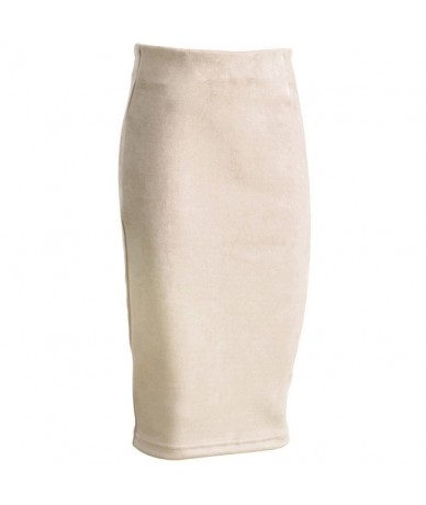 Women Skirt Spring Autum Office Lady Sexy Thicken Stretchy Bodycon Knee Length Pencil Skirts Plus Size - Beige - 4E3071708217-1