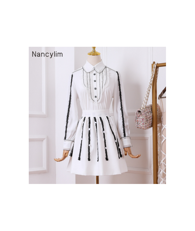 2019 Autumn New Women's Sets Temperament Long-sleeved Shirt + Skirt Two-piece Female Lady Skirts Set Outfits Femme - White -...